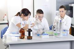 Científicos jovenes atractivos de los estudiantes del doctorado en el laboratorio imagen de archivo