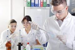 Científicos jovenes atractivos de los estudiantes del doctorado en el laboratorio fotos de archivo libres de regalías
