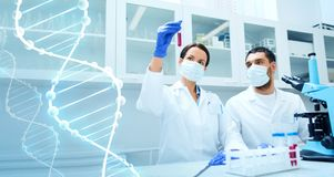Científicos jovenes que hacen la prueba o la investigación en laboratorio imagenes de archivo