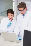 Científicos que usan el ordenador portátil Imagenes de archivo