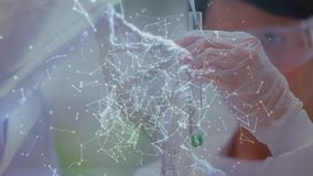 Científicos rodeados por las conexiones de la hélice y de datos de la DNA ilustración del vector