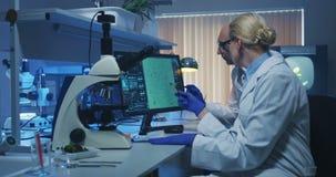 Cient?ficos que examinan bacterias en un laboratorio almacen de metraje de vídeo