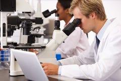 Científicos de sexo masculino y de sexo femenino que usan los microscopios en laboratorio Imagen de archivo