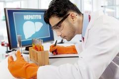 Cientista árabe com símbolo do fígado no computador Imagem de Stock