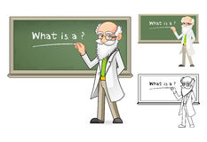 Cientista Cartoon Character Holding um giz Imagem de Stock Royalty Free