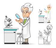 Cientista Cartoon Character Holding uma lupa com o microscópio no fundo Foto de Stock