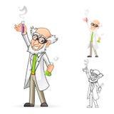 Cientista Cartoon Character Holding uma taça e um tubo de ensaio com a uma mão levantada e que sente grande Fotos de Stock