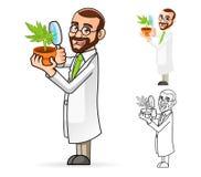 Cientista de planta Cartoon Character Looking em uma planta através de uma lupa Imagem de Stock Royalty Free