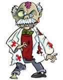 Cientista do zombi dos desenhos animados com mostrar dos cérebros Foto de Stock Royalty Free