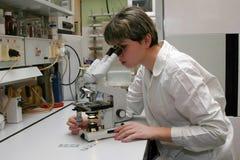 Cientista e microscópio Fotos de Stock