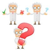 Cientista engraçado dos desenhos animados com um ponto de interrogação Imagem de Stock