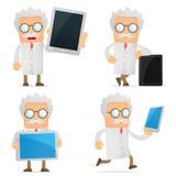 Cientista engraçado dos desenhos animados com um portátil Imagem de Stock Royalty Free