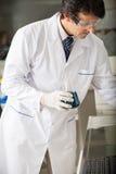 Cientista Examining Green Solution na garrafa Fotos de Stock Royalty Free