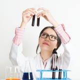 Cientista fêmea novo que faz a pesquisa Imagem de Stock