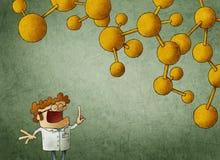 Cientista inteligente com a corrente ascendente e nuclear do dedo acima ilustração stock