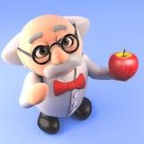 Cientista louco do professor dos desenhos animados que guarda uma maçã orgânica, ilustração 3d