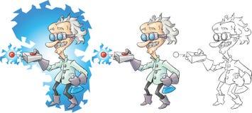 cientista louco dos desenhos animados Fotografia de Stock