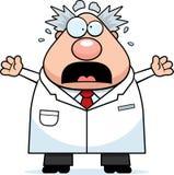 Cientista louco dos desenhos animados assustado Imagem de Stock