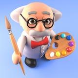Cientista louco esperto do professor que guarda um pincel e uma paleta, ilustração 3d