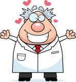 Cientista louco Hug dos desenhos animados Imagens de Stock