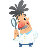 Cientista médico de sorriso feliz dos desenhos animados que guarda a lupa Fotografia de Stock Royalty Free