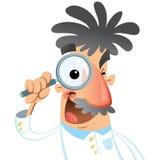 Cientista médico de sorriso feliz dos desenhos animados que olha com o magnifyi Imagem de Stock Royalty Free