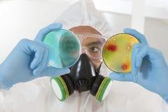 Cientista no vestuário de proteção no laboratório com prato de petri imagem de stock royalty free
