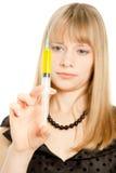 Cientista novo com seringa Imagem de Stock