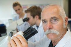 Cientista principal superior que microscoping no laboratório de pesquisa da ciência da vida foto de stock royalty free