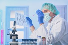 Cientista que analizing a sequ?ncia do ADN imagens de stock royalty free
