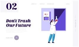 Cientista Recycle Trash da mulher no laboratório para limpar a página da aterrissagem do ambiente e da ecologia Serviço da utiliz ilustração do vetor