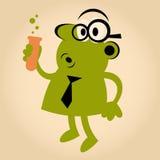 Cientista retro engraçado dos desenhos animados Fotografia de Stock Royalty Free