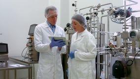 Cientistas do alimento que trabalham junto no laboratório vídeos de arquivo