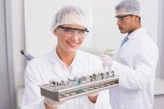 Cientistas felizes que guardam os tubos fotos de stock
