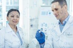 Cientistas inspirados que trabalham em sua pesquisa Foto de Stock