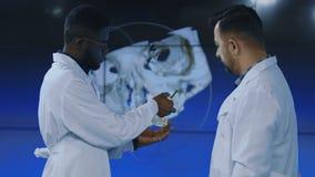 Cientistas médicos que investigam o crânio humano filme
