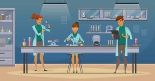 Cientistas no cartaz retro dos desenhos animados do laboratório Foto de Stock