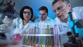 Cientistas que olham reações em uns tubos de ensaio Fotografia de Stock Royalty Free