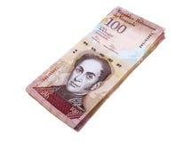 Cientos billetes de banco de los bolivares Imágenes de archivo libres de regalías