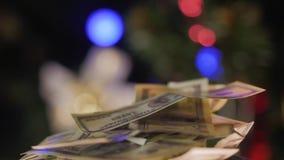 Cientos billetes de banco del dólar almacen de video