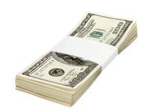 Cientos billetes de banco del dólar Foto de archivo