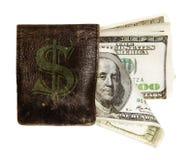 Cientos billetes de banco del dólar en el monedero Imágenes de archivo libres de regalías