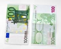 Cientos billetes de banco del euro Fotografía de archivo libre de regalías