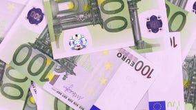 Cientos billetes de banco euro almacen de metraje de vídeo