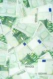 Cientos billetes de banco euro Fotografía de archivo