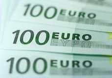 Cientos billetes de banco euro Foto de archivo libre de regalías