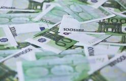 Cientos billetes de banco euro Fotografía de archivo libre de regalías