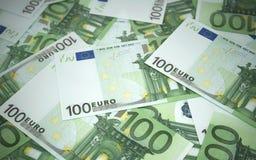 Cientos billetes de banco euro Imagenes de archivo