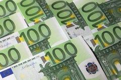 Cientos billetes de banco euro Fotos de archivo