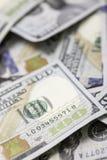 Cientos 100 billetes de dólar Imagen de archivo libre de regalías